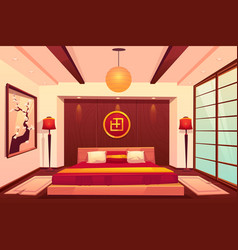 Asian bedroom chinese japanese eastern room vector