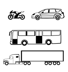 Bike car bus truck vector image