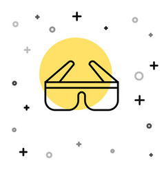 black line 3d cinema glasses icon isolated on vector image