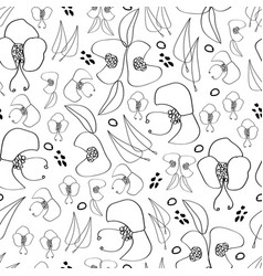 black line flowers-monochromatic flowers seamless vector image