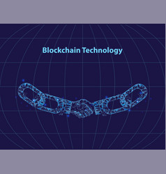 blockchain digital technology poster text vector image