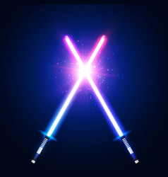 blue and pink crossing laser sabers war vector image