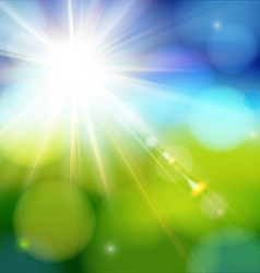 Bright shining sun with lens flare vector image