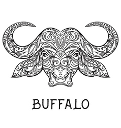 Buffalo head with abstract ornament vector
