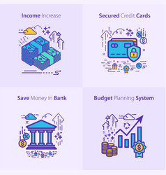 Business and finance icon set income increase vector