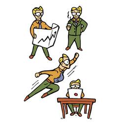 businessman cartoon icons set vector image