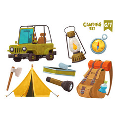 car tent axe compas backpack flashlight camping vector image