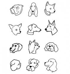 cartoon dog faces - bw vector image
