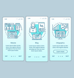 Channels for seo turquoise onboarding mobile app vector