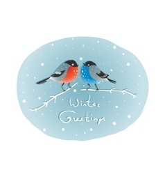 Christmas Bullfinch Birds in Love Sitting on Twig vector image