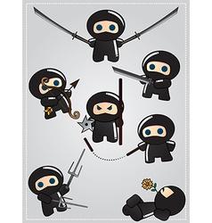 Collection cute cartoon ninja warriors vector