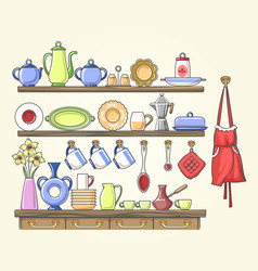 Cooking shelf with vintage dishes vector