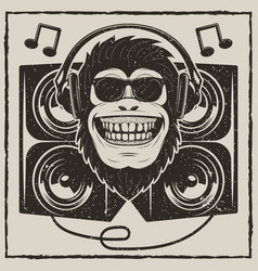 Cool music monkey grunge t-shirt printing vector