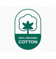 Cotton icon fabric logo organic natural 100 vector