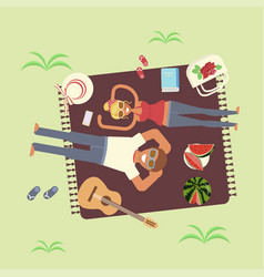 couple in love top view vector image