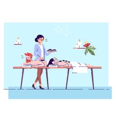 Couple on hot stone massage flat doodle spa vector
