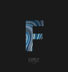 curly textured letter f vector image