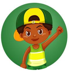 Cute boy on round background vector