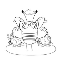 Cute little bee with heart sunglasses in the camp vector