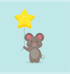 Cute mouse holding balloon free vector