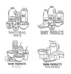 dairy product banners vector image