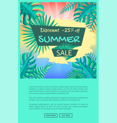 Discount 25 off summer sale poster palm tree leaf vector