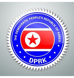 DPRK flag label vector image