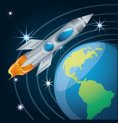 Earth planet with rocket flying near vector