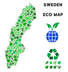 Ecology green collage sweden map vector