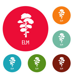 Elm tree icons circle set vector