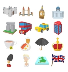 England icons set cartoon style vector