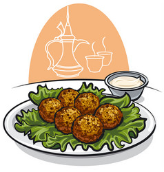 Falafel with lettuce and sauce vector