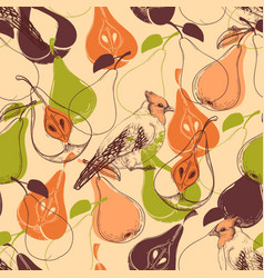 fall seamless pattern fruits and birds vector image