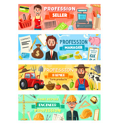 Farmer seller and engineer profession vector
