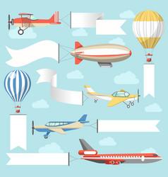 Flying air advertising media vehicles vector