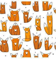 Funny foxes seamless pattern for your design vector