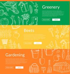 Gardening doodle icons horizontal web vector