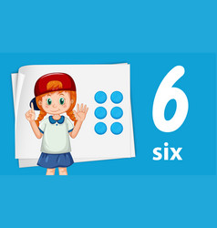 girl showing number six vector image