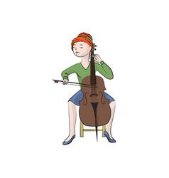 Girl woman plays cello color vector