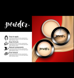 Glamorous fashion face cosmetic makeup powder vector