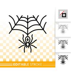 Halloween spider web simple black line icon vector