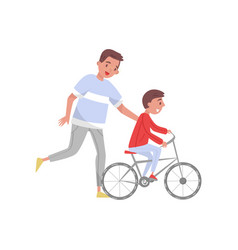 happy father teaching his son riding bicycle vector image
