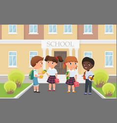 Happy kids in front school building entrance vector