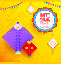 Happy makar sankranti wallpaper with colorful kite vector