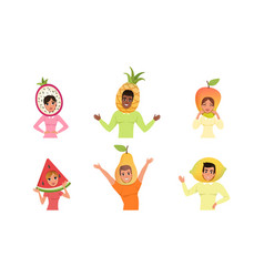 happy people in various fruit hats set smiling vector image