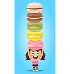 Happy woman carrying big macaroons or macarons vector