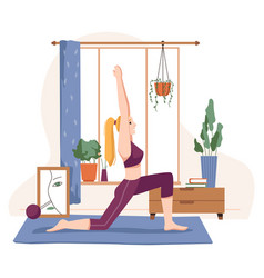 Home sports and workout woman doing yoga vector