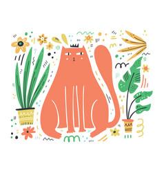 king cat flat hand drawn vector image