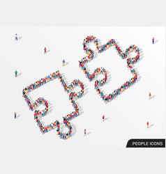 Large group people in form jigsaw puzzle vector