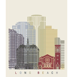 Long Beach skyline poster vector